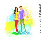couple casual clothes over... | Shutterstock .eps vector #251476741