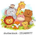 Stock vector jungle animals 251489977
