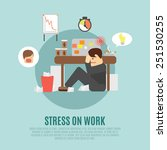 stress on work flat icon with... | Shutterstock .eps vector #251530255