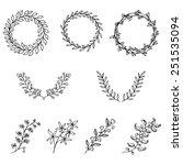 set of hand drawn vintage...   Shutterstock .eps vector #251535094