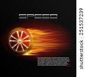 realistic burning wheel tyre... | Shutterstock .eps vector #251537239