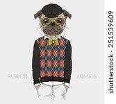 illustration of dressed up pug... | Shutterstock .eps vector #251539609