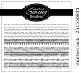 Vector set of sewing brushes. Hand-drawn stitches, seams and page dividers.  All used pattern brushes are included.