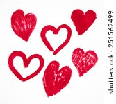 hearts set hand painted ink... | Shutterstock .eps vector #251562499