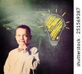 school boy is standing with... | Shutterstock . vector #251569387