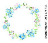Watercolor Wreath With Forget...