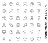 set of 36 thin line icons for...