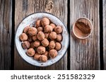 Chocolate Balls In A White Bowl
