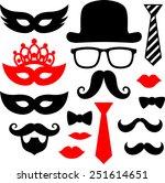 set of black mustaches  lips... | Shutterstock .eps vector #251614651