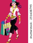 happy woman shopping | Shutterstock .eps vector #251638795