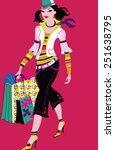 happy woman shopping | Shutterstock .eps vector #251638795