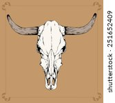 One Bull  Cow  Skull With Horn...
