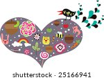 heart shape elements with bird | Shutterstock .eps vector #25166941