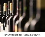 row of vintage wine bottles in... | Shutterstock . vector #251684644