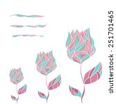 card with 3 abstract tulips. | Shutterstock .eps vector #251701465