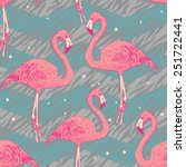 seamless pattern with flamingo... | Shutterstock .eps vector #251722441