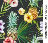 tropical pattern  pineapple ... | Shutterstock .eps vector #251739961