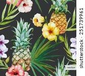 tropical pattern  pineapple ... | Shutterstock .eps vector #251739961