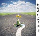 flower sprouting through...   Shutterstock . vector #251749327