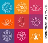 collection of yoga icons and... | Shutterstock .eps vector #251792641