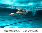 Stock photo female swimmer at the swimming pool underwater photo 251794285