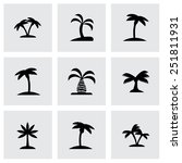 Vector Palm Icon Set On Grey...
