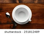 white cup in wood table  | Shutterstock . vector #251812489