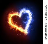 Fire Ice Heart On A Black...
