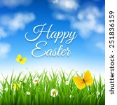 easter background with grass... | Shutterstock .eps vector #251836159