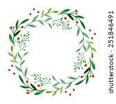 watercolor wreath | Shutterstock .eps vector #251846491