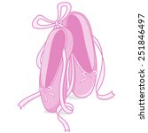 Pink Ballet Shoes. Vector...