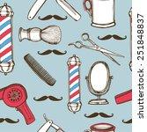 hand drawn retro barbershop... | Shutterstock .eps vector #251848837