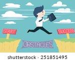 cute businessman jump across... | Shutterstock .eps vector #251851495