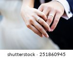 newly wed couple's hands with... | Shutterstock . vector #251860945
