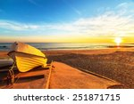 boats in warm sunset light on... | Shutterstock . vector #251871715