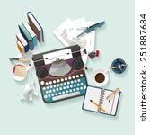 workplace writer. flat design. | Shutterstock .eps vector #251887684