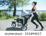 a young mother jogging with a...   Shutterstock . vector #251894017