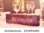 wooden reserved plate on an... | Shutterstock . vector #251896381