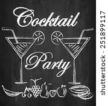 cocktail party with fruits on... | Shutterstock .eps vector #251899117