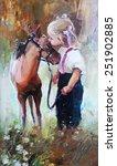 oil painting of little girl... | Shutterstock . vector #251902885