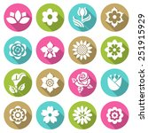 flower icon set  flat style... | Shutterstock .eps vector #251915929