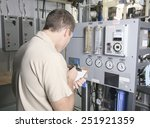 a air conditioner repair man at ... | Shutterstock . vector #251921359