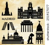 madrid monuments detailed... | Shutterstock .eps vector #251927077