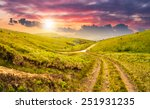 composite highland landscape. with pine forest far away near the road through hillside meadow in sunset light - stock photo