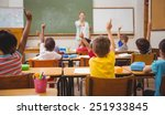 pupils raising their hands... | Shutterstock . vector #251933845