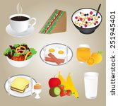 healthy foods and breakfast set | Shutterstock .eps vector #251945401