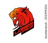 red evil tiger head logo...   Shutterstock .eps vector #251959201