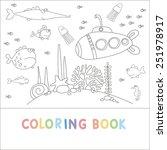 coloring book sea fish design   Shutterstock .eps vector #251978917