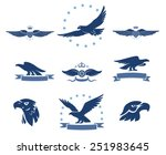 Stock vector eagles silhouettes and winged insignias set 251983645