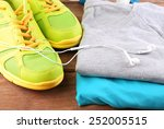 sport shoes and clothes on... | Shutterstock . vector #252005515